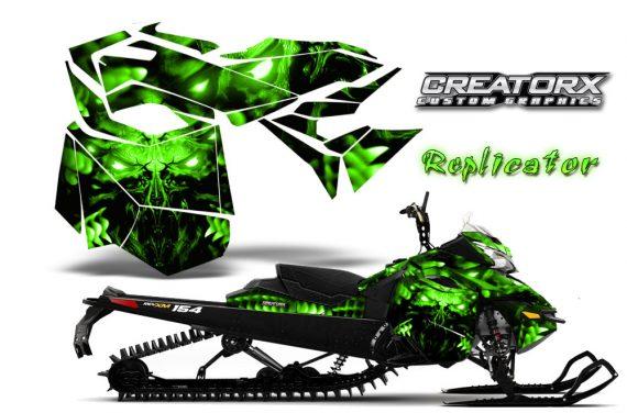 Skidoo RevXM CreatorX Graphics Kit Replicator Green 570x376 - Ski-Doo Can-Am Rev XM 2013-2017 Graphics