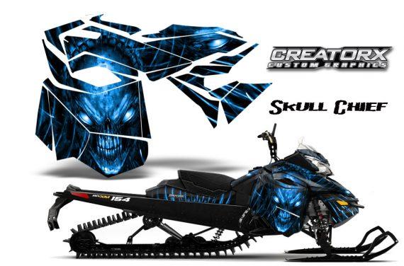 Skidoo RevXM CreatorX Graphics Kit Skull Chief Blue 570x376 - Ski-Doo Can-Am Rev XM 2013-2017 Graphics