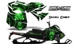 Skidoo RevXM CreatorX Graphics Kit Skull Chief Green 150x90 - Ski-Doo Can-Am Rev XM 2013-2017 Graphics