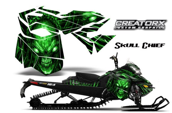 Skidoo RevXM CreatorX Graphics Kit Skull Chief Green 570x376 - Ski-Doo Can-Am Rev XM 2013-2017 Graphics