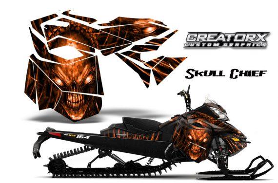 Skidoo RevXM CreatorX Graphics Kit Skull Chief Orange 570x376 - Ski-Doo Can-Am Rev XM 2013-2017 Graphics