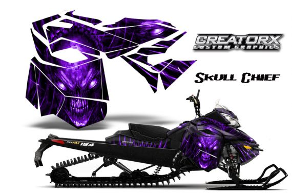 Skidoo RevXM CreatorX Graphics Kit Skull Chief Purple 570x376 - Ski-Doo Can-Am Rev XM 2013-2017 Graphics
