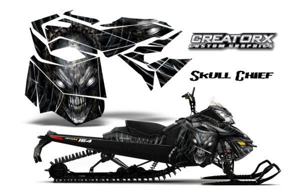 Skidoo RevXM CreatorX Graphics Kit Skull Chief Silver 570x376 - Ski-Doo Can-Am Rev XM 2013-2017 Graphics