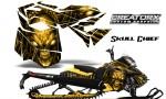 Skidoo RevXM CreatorX Graphics Kit Skull Chief Yellow YB 150x90 - Ski-Doo Can-Am Rev XM 2013-2017 Graphics