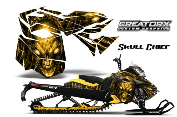 Skidoo RevXM CreatorX Graphics Kit Skull Chief Yellow YB 570x376 - Ski-Doo Can-Am Rev XM 2013-2017 Graphics