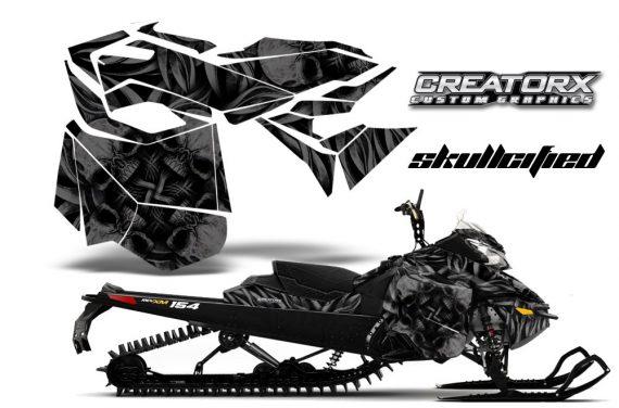 Skidoo RevXM CreatorX Graphics Kit Skullcified Black BB 570x376 - Ski-Doo Can-Am Rev XM 2013-2017 Graphics