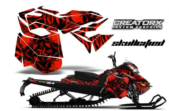 Skidoo RevXM CreatorX Graphics Kit Skullcified Red 570x376 - Ski-Doo Can-Am Rev XM 2013-2017 Graphics