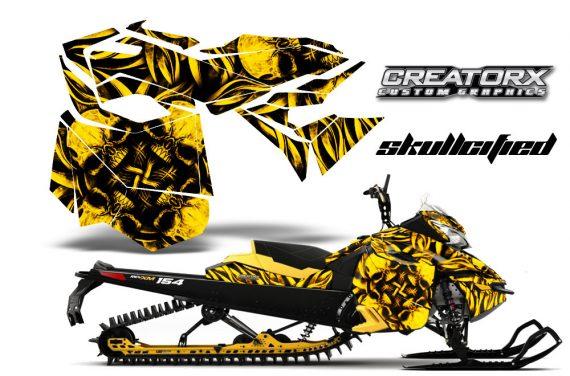 Skidoo RevXM CreatorX Graphics Kit Skullcified Yellow 570x376 - Ski-Doo Can-Am Rev XM 2013-2017 Graphics