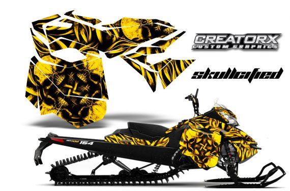 Skidoo RevXM CreatorX Graphics Kit Skullcified Yellow BB 570x376 - Ski-Doo Can-Am Rev XM 2013-2017 Graphics