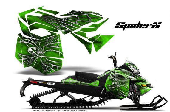 Skidoo RevXM CreatorX Graphics Kit SpiderX Green 570x376 - Ski-Doo Can-Am Rev XM 2013-2017 Graphics