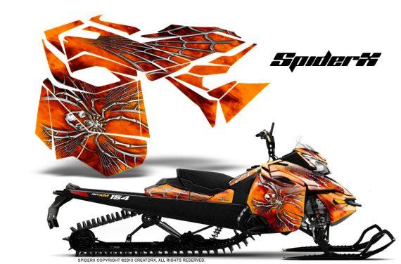 Skidoo RevXM CreatorX Graphics Kit SpiderX Orange 570x376 - Ski-Doo Can-Am Rev XM 2013-2017 Graphics