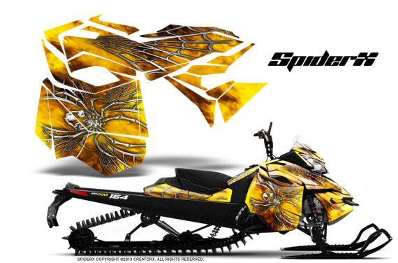 Skidoo RevXM CreatorX Graphics Kit SpiderX Yellow BB 570x376 - Ski-Doo Can-Am Rev XM 2013-2017 Graphics