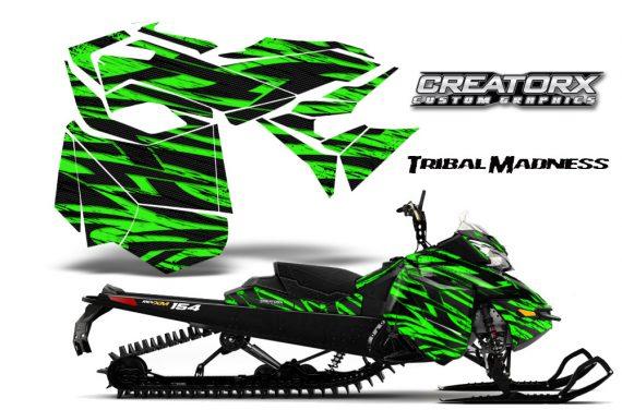 Skidoo RevXM CreatorX Graphics Kit Tribal Madness Green BB 570x376 - Ski-Doo Can-Am Rev XM 2013-2017 Graphics