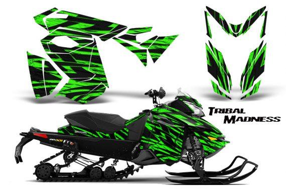 Skidoo RevXS CreatorX Graphics Kit Tribal Madness Green 570x376 - Ski-Doo Rev XS MXZ Renegade 2013-2018 Graphics