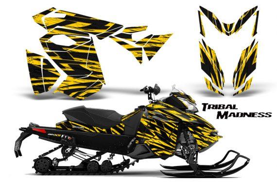 Skidoo RevXS CreatorX Graphics Kit Tribal Madness Yellow BB 570x376 - Ski-Doo Rev XS MXZ Renegade 2013-2018 Graphics