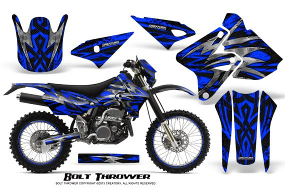 Suzuki DRZ400 Enduro CreatorX Graphics Kit Bolt Thrower Blue NP Rims 570x376 - Suzuki Dirt Bike Graphics