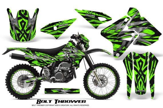 Suzuki DRZ400 Enduro CreatorX Graphics Kit Bolt Thrower Green NP Rims 570x376 - Suzuki Dirt Bike Graphics