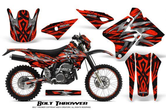 Suzuki DRZ400 Enduro CreatorX Graphics Kit Bolt Thrower Red NP Rims 570x376 - Suzuki Dirt Bike Graphics