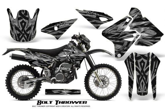 Suzuki DRZ400 Enduro CreatorX Graphics Kit Bolt Thrower Silver NP Rims 570x376 - Suzuki Dirt Bike Graphics