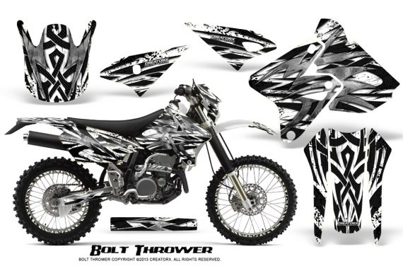 Suzuki DRZ400 Enduro CreatorX Graphics Kit Bolt Thrower White NP Rims 570x376 - Suzuki Dirt Bike Graphics