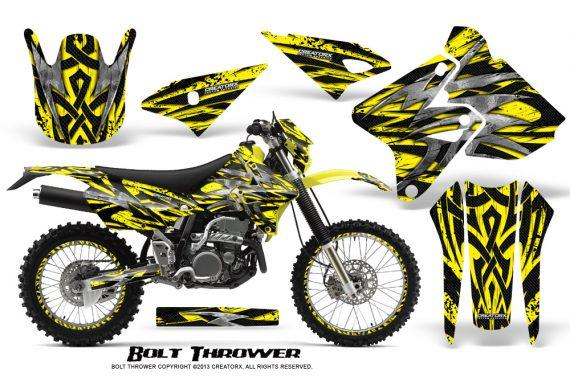 Suzuki DRZ400 Enduro CreatorX Graphics Kit Bolt Thrower Yellow NP Rims 570x376 - Suzuki Dirt Bike Graphics