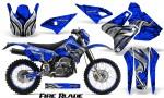 Suzuki DRZ400 Enduro CreatorX Graphics Kit FireBlade Black Blue NP Rims 150x90 - Suzuki Dirt Bike Graphics