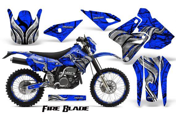 Suzuki DRZ400 Enduro CreatorX Graphics Kit FireBlade Black Blue NP Rims 570x376 - Suzuki Dirt Bike Graphics