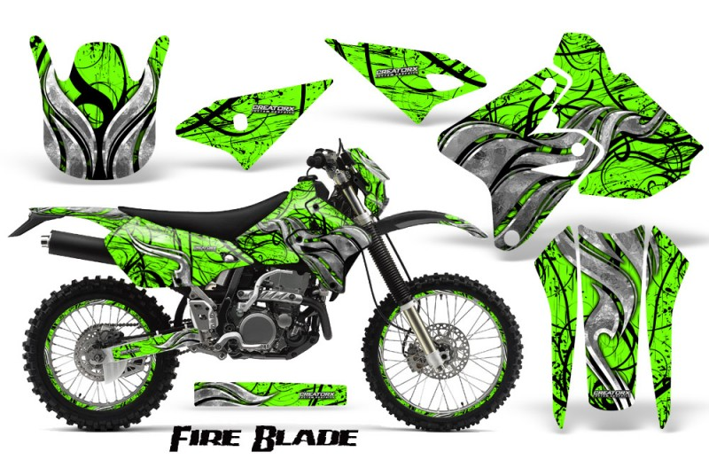 Suzuki-DRZ400-Enduro-CreatorX-Graphics-Kit-FireBlade-Black-Green-NP-Rims