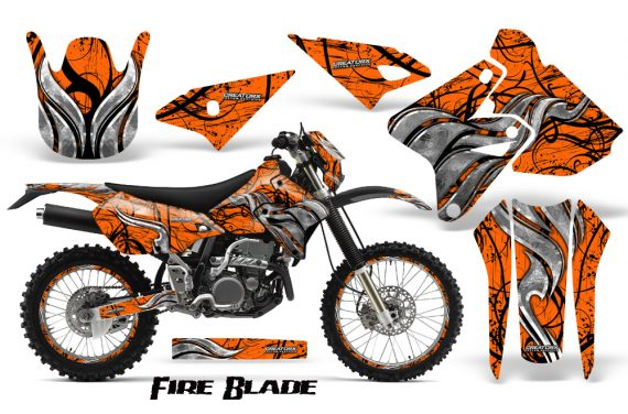Suzuki DRZ400 Enduro CreatorX Graphics Kit FireBlade Black Orange NP Rims 570x376 - Suzuki Dirt Bike Graphics