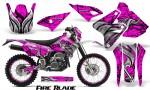 Suzuki DRZ400 Enduro CreatorX Graphics Kit FireBlade Black Pink NP Rims 150x90 - Suzuki Dirt Bike Graphics