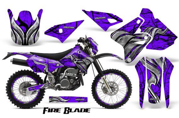 Suzuki DRZ400 Enduro CreatorX Graphics Kit FireBlade Black Purple NP Rims 570x376 - Suzuki Dirt Bike Graphics