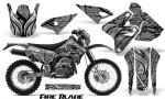 Suzuki DRZ400 Enduro CreatorX Graphics Kit FireBlade Black Silver NP Rims 150x90 - Suzuki Dirt Bike Graphics