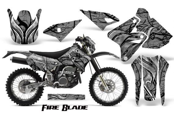 Suzuki DRZ400 Enduro CreatorX Graphics Kit FireBlade Black Silver NP Rims 570x376 - Suzuki Dirt Bike Graphics