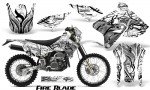 Suzuki DRZ400 Enduro CreatorX Graphics Kit FireBlade Black White NP Rims 150x90 - Suzuki Dirt Bike Graphics