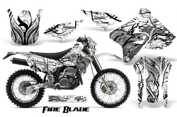 Suzuki DRZ400 Enduro CreatorX Graphics Kit FireBlade Black White NP Rims 570x376 - Suzuki Dirt Bike Graphics