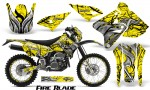 Suzuki DRZ400 Enduro CreatorX Graphics Kit FireBlade Black Yellow BB NP Rims 150x90 - Suzuki Dirt Bike Graphics