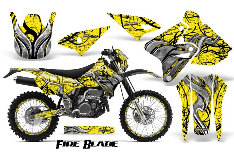 Suzuki-DRZ400-Enduro-CreatorX-Graphics-Kit-FireBlade-Black-Yellow-BB-NP-Rims