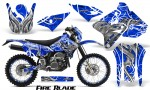 Suzuki DRZ400 Enduro CreatorX Graphics Kit FireBlade White Blue NP Rims 150x90 - Suzuki Dirt Bike Graphics