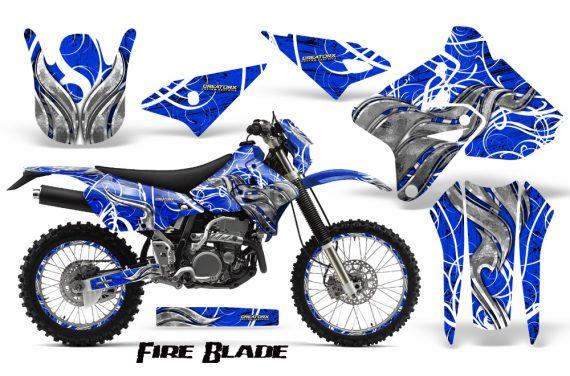 Suzuki DRZ400 Enduro CreatorX Graphics Kit FireBlade White Blue NP Rims 570x376 - Suzuki Dirt Bike Graphics