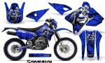 Suzuki DRZ400 Enduro CreatorX Graphics Kit Samurai Black Blue NP Rims 150x90 - Suzuki Dirt Bike Graphics