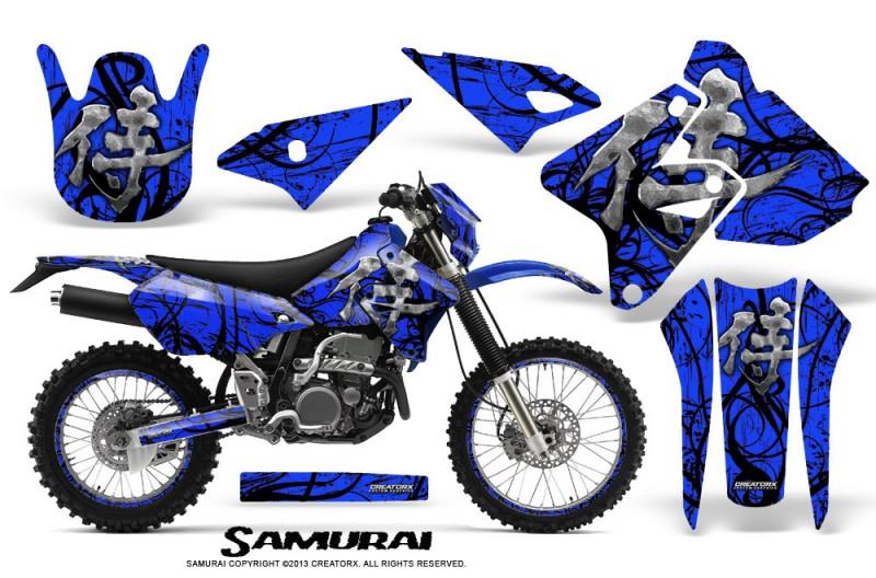 Suzuki-DRZ400-Enduro-CreatorX-Graphics-Kit-Samurai-Black-Blue-NP-Rims