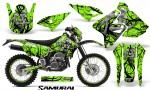 Suzuki DRZ400 Enduro CreatorX Graphics Kit Samurai Black Green NP Rims 150x90 - Suzuki Dirt Bike Graphics