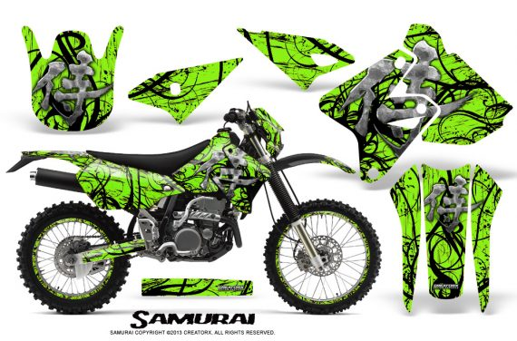 Suzuki DRZ400 Enduro CreatorX Graphics Kit Samurai Black Green NP Rims 570x376 - Suzuki Dirt Bike Graphics