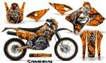 Suzuki DRZ400 Enduro CreatorX Graphics Kit Samurai Black Orange NP Rims 150x90 - Suzuki Dirt Bike Graphics