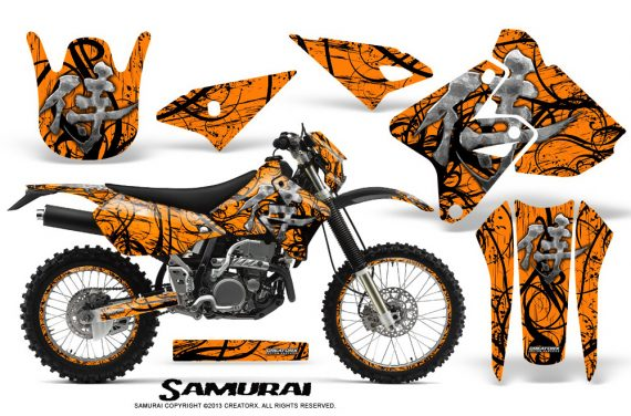 Suzuki DRZ400 Enduro CreatorX Graphics Kit Samurai Black Orange NP Rims 570x376 - Suzuki Dirt Bike Graphics