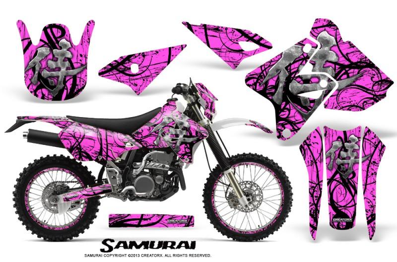 Suzuki-DRZ400-Enduro-CreatorX-Graphics-Kit-Samurai-Black-Pink-NP-Rims