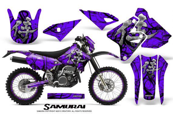 Suzuki DRZ400 Enduro CreatorX Graphics Kit Samurai Black Purple NP Rims 570x376 - Suzuki Dirt Bike Graphics