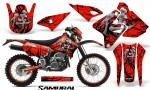 Suzuki DRZ400 Enduro CreatorX Graphics Kit Samurai Black Red NP Rims 150x90 - Suzuki Dirt Bike Graphics