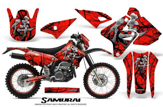 Suzuki DRZ400 Enduro CreatorX Graphics Kit Samurai Black Red NP Rims 570x376 - Suzuki Dirt Bike Graphics