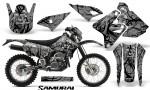 Suzuki DRZ400 Enduro CreatorX Graphics Kit Samurai Black Silver NP Rims 150x90 - Suzuki Dirt Bike Graphics